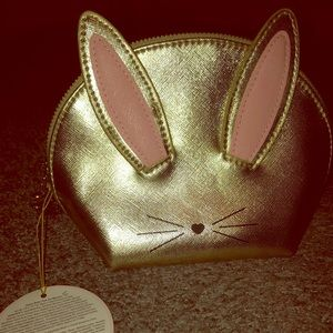 Gold Cruelty Free Bunny makeup bag